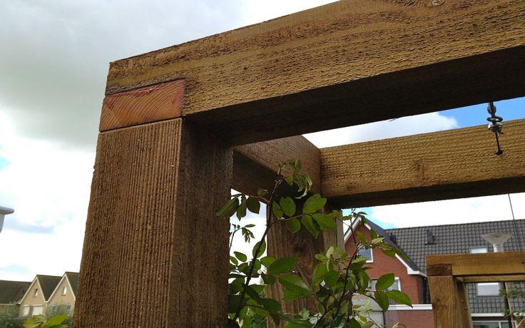 Pergola 39 s van veen tuinontwerpen maatwerk douglas hout hardhout tuinontwerp hovenier tuinaanleg - Hout pergola dekking ...