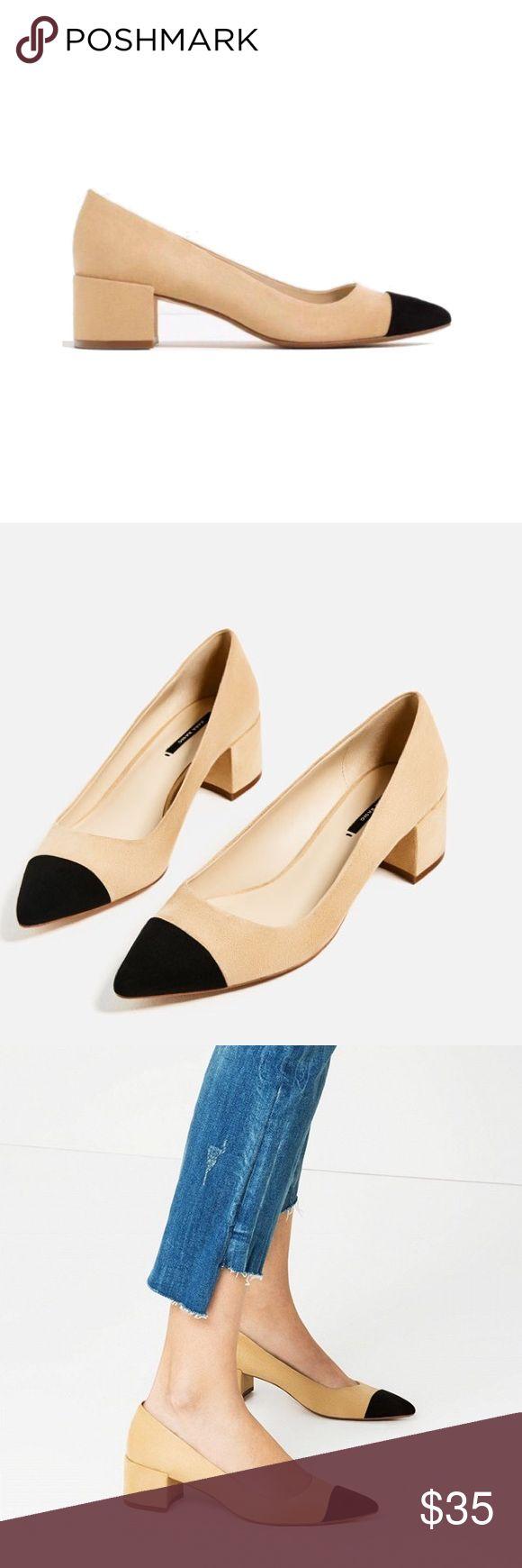 zara • two tone heel runs big. few scuffs.❗️more photos to come Zara Shoes Heels