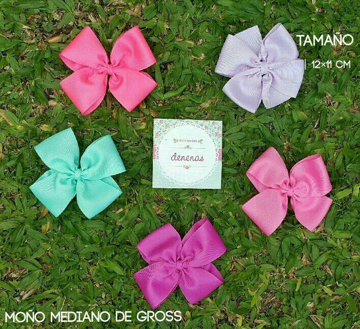 Moño mediano gross. tiffany - coral - rosa chicle - rosa oscuro - lila - Moños para niñas - Bows for girls #accesorios para nenas @denenasaccesorios