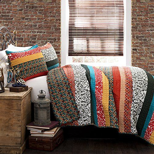 Free spirited, untamed, rustic and yet chic, Boho stripe 3pc quilt set is a perfect piece of modern time creativity. Unique designs in bright and colorful floral and geometric patterns run across the quilt surface with back in geometric pattern.