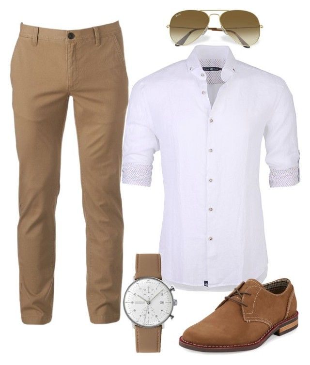 """""""Neutral Man"""" by mom-kelmarie on Polyvore featuring Urban Pipeline, Stone Rose, Original Penguin, Junghans, Ray-Ban, men's fashion and menswear"""