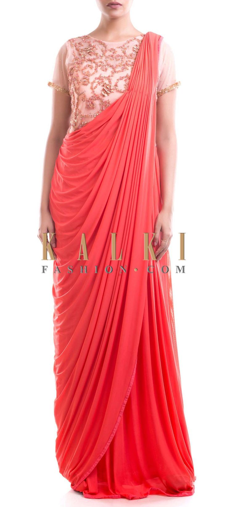 Buy Online from the link below. We ship worldwide (Free Shipping over US$100) Price- $229 Click Anywhere to Tag http://www.kalkifashion.com/peach-and-orange-gown-saree.html
