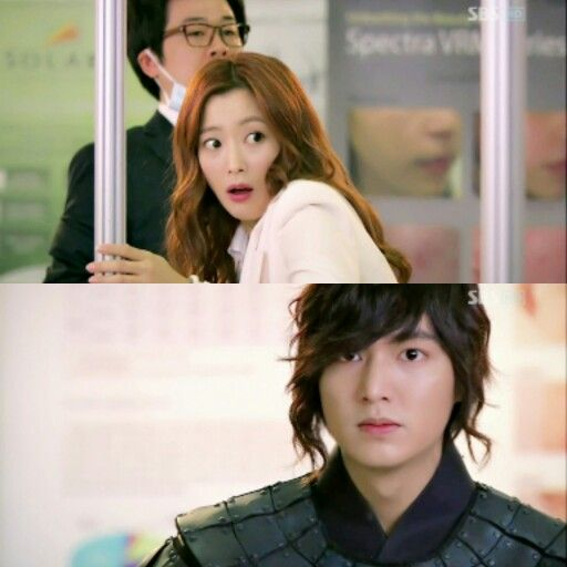 The look fear yooeunsoo gives choiyoung when  she sees him standing there,coming to kidnap her from modern seoul