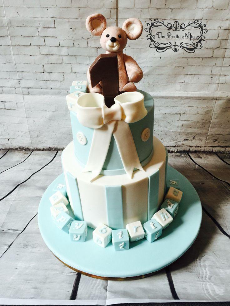 Bear and blocks baby cake chocolate cake with dark chocolate ganache