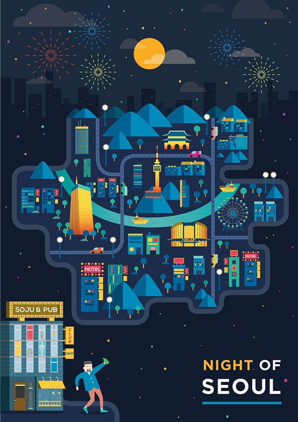 Night of Seoul city on Behance