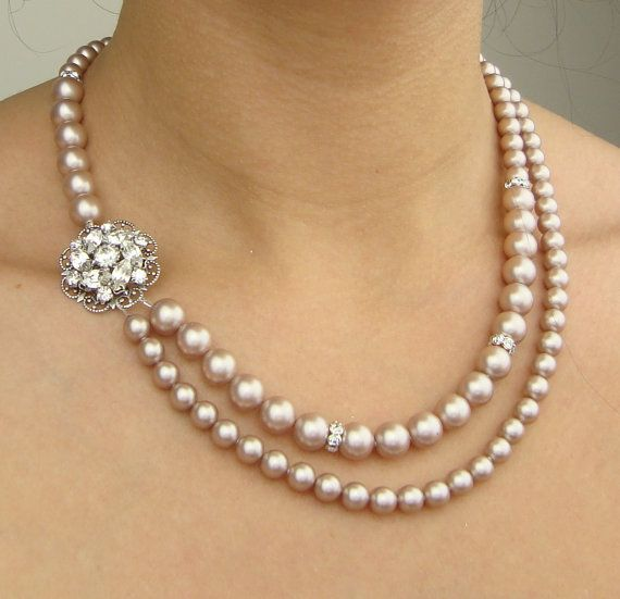 Champagne Pearl Wedding Necklace, Wedding Jewelry, Champagne Bridal Necklace, Vintage Bridal Jewelry, Statement Necklace, CELINE