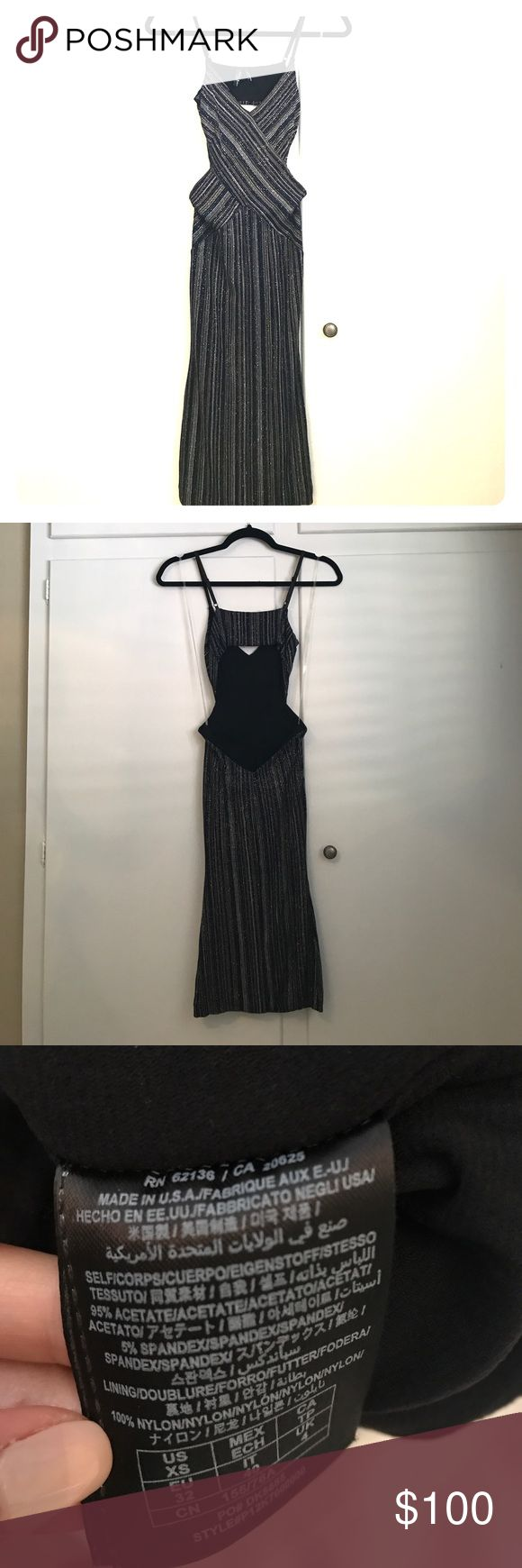 Sparkly Navy & Gold Cutout Back Striped Dress Only worn once. Sparkly striped navy and gold form fitting dress. Guess by Marciano Dresses Midi