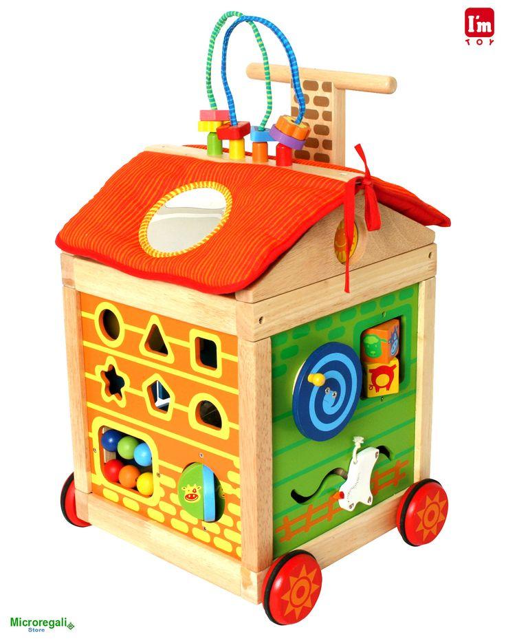 Carrellino MULTIATTIVITA' in Legno cm 33x29x50 h per bambini. Primi Passi. Età 19 Mesi. I'm Toy. Prenota il tuo regalo scontato! - Regali di Natale Scontati - Regali per i BAMBINI