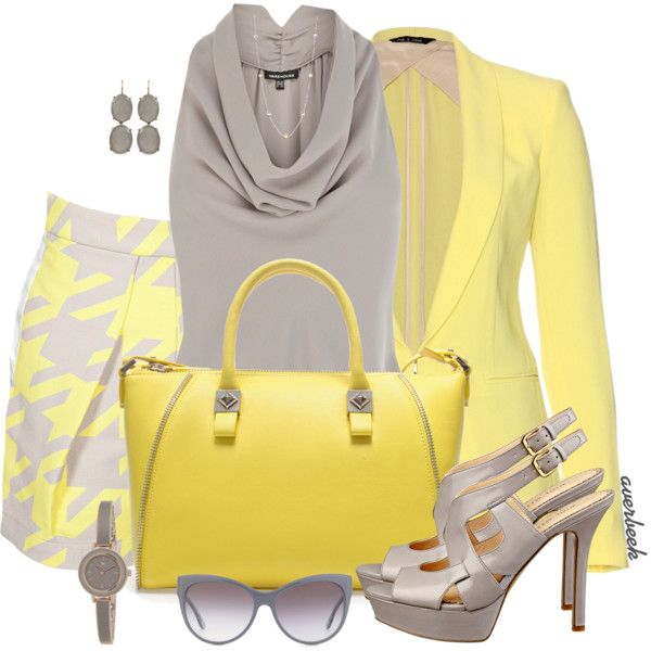 """Yellow and Grey"" by averbeek on Polyvore"