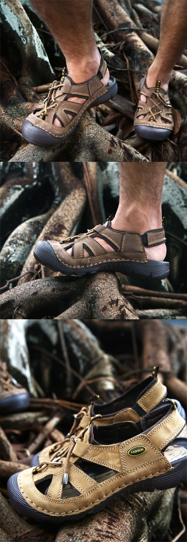 Men Stitching Genuine Leather Anti-collision Toe Outdoor Hiking Sandals