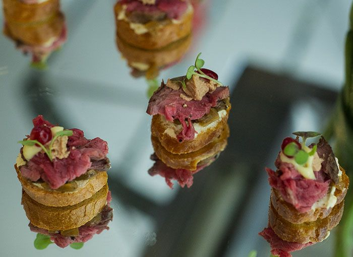 Fillet of beef with truffle, foie gras mousse and caramelized onion   #food #canape #opulentliving #laprairie