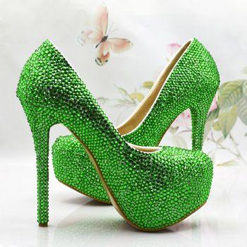 Новый свадебное обувь зеленый кристалл туфли на высоком каблуке туфли на платформе девушка свадебные туфли производительность ну вечеринку обувь