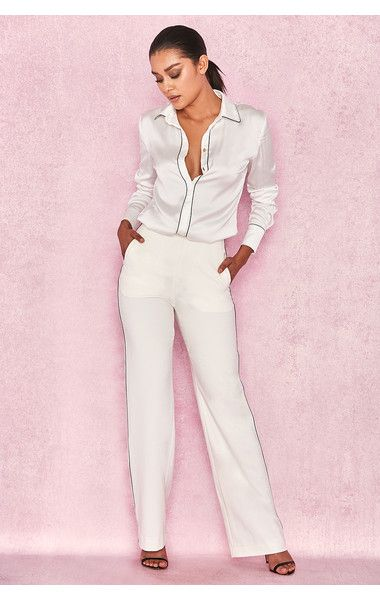4ee3df6fe7cc8 Clothing   Leggings    Nazan  White Tailored Crepe Piped Trousers ...