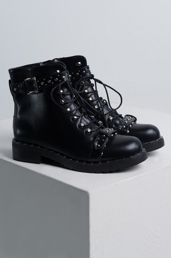 STRAIGHT TO IT STUDDED COMBAT BOOTS