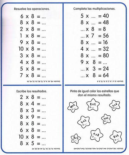 """Mi Escuela Divertida: Cuaderno de Actividades Matemáticas """"Las Tablas de Multiplicar"""""""