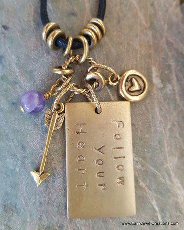 Amethyst pendant, word jewelry inspiration, crystal jewellery, vegan jewelry