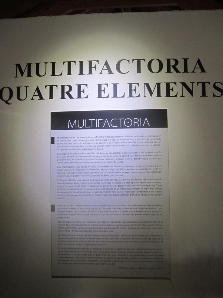 Multifactoria Quatre Elements, Autora del text de presentació de l'Exposició: Ângels Verdejo.