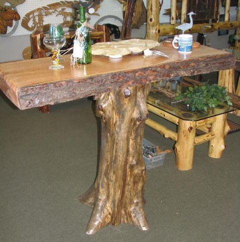 Amazing Rustic Cedar Tree Log Bar Table With Slab Top