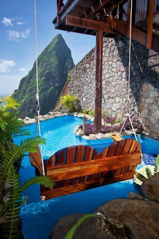 Obsessed with the chair swing over the pool! And the mountain view…