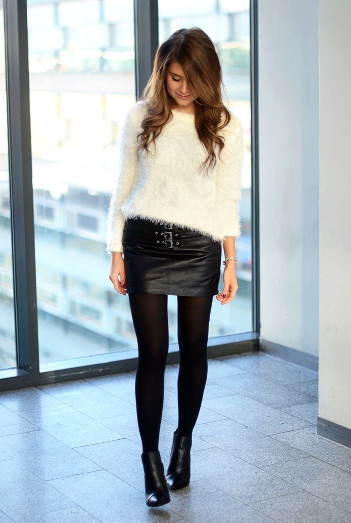 fluffy sweater + leather