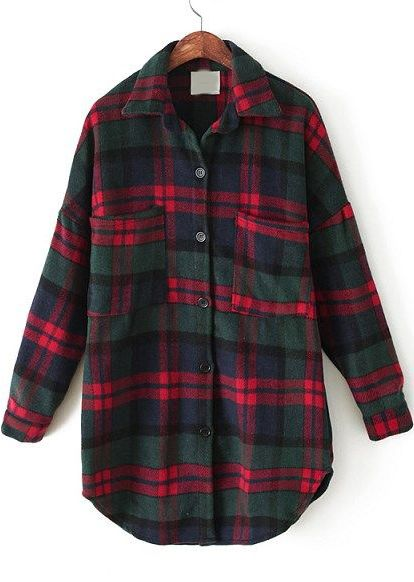 Red Green Plaid Lapel Pockets Loose Blouse - abaday.com