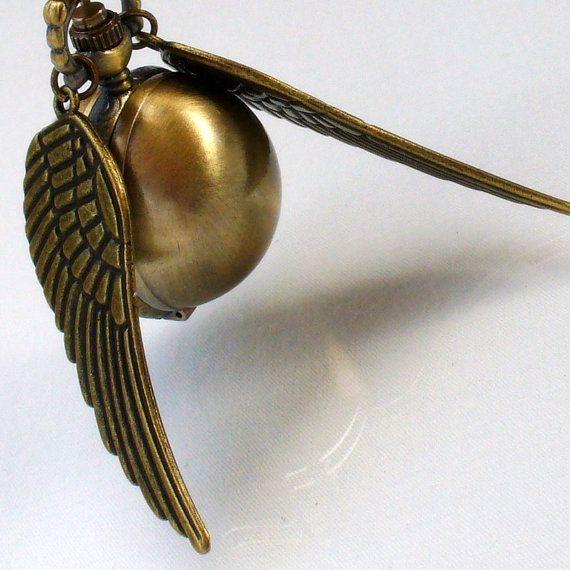 I love this.   Golden Snitch Watch Necklace by oldjunkyardboutique, $29.99