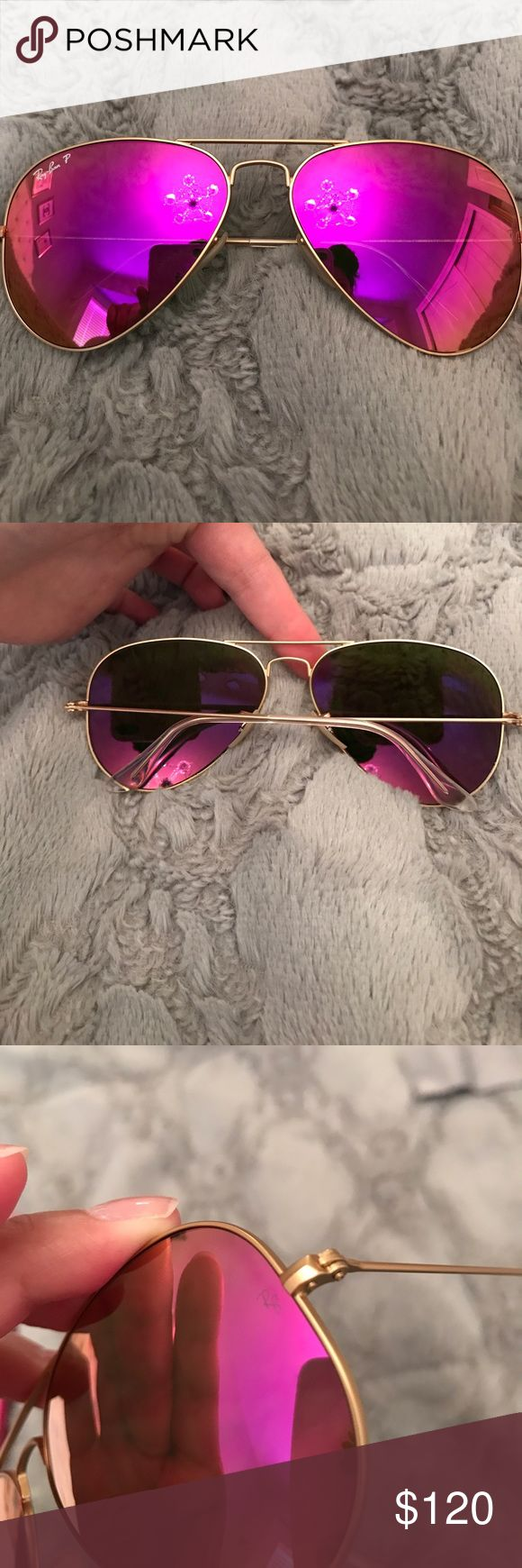 "Ray Bans polarized pink and gold! Worn 1X. In excellent condition. No scratches. Comes with case and cloth. Polarized. ""RB 3025 aviator large metal 112/10 58014 2p"" (inside left side) made in Italy. 100% authentic! Ray-Ban Accessories Sunglasses"
