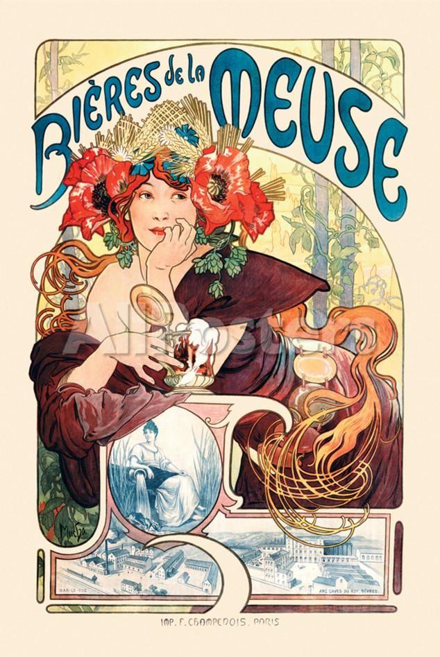 Bieres De La Meuse Posters by Alphonse Mucha at AllPosters.com