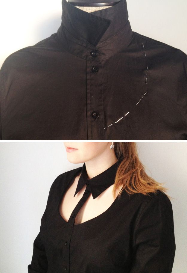 Turn a regular old button-down shirt into something much more on trend. | 31 Easy DIY Projects You Won't Believe Are No-Sew