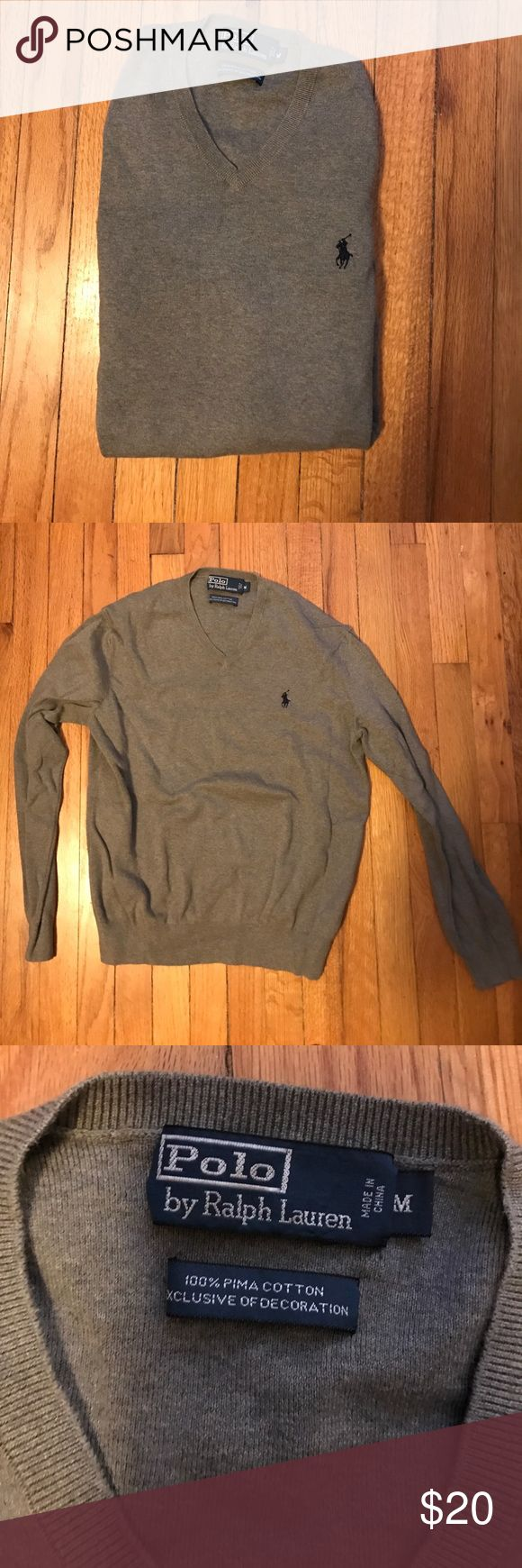 Polo Men's V neck Sweater Grey with blue polo symbol great Used Condition only dry cleaned- live in warm climate now and never wear. Medium 100% Pima cotton Polo by Ralph Lauren Sweaters V-Neck
