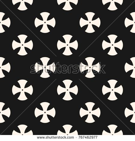 Simple floral pattern. Vector minimalist seamless texture with cross shapes. Abstract minimal geometric monochrome background. Black and white repeat design for textile, home decor, gift paper, cloth