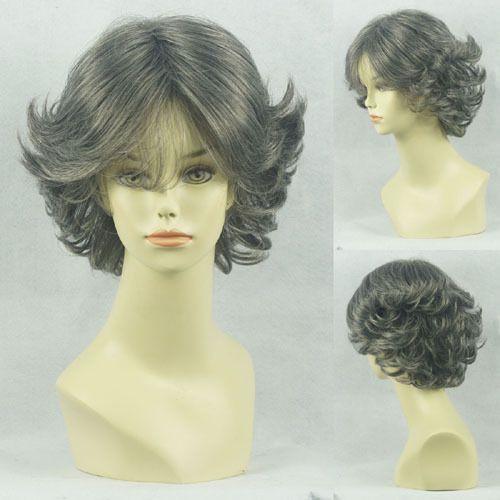 Кк 002414 новый короткие волнистые синтетический старушка серые белые волосы Sathura женская полный парик 5.2
