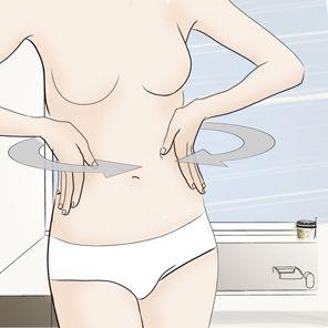 Modelowanie talii : brasowanie  Aby wymodelować talię, wykonuj masaż od pasa w kierunku pępka.  Pamiętaj, że: Zawsze nakładaj produkt wyszczuplający na rozluźnione mięśnie. Czas wykonania: 1-2 minuty
