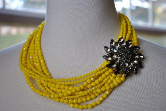 yellow and rhinestone statement necklace