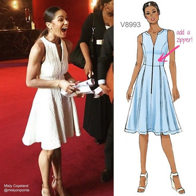 Congratulations to Misty Copeland, now principal of American Ballet Theater. Sew her off-stage look with Vogue Patterns V8993. Just add a zipper to the front and omit it in the back. Look for a textured ponte knit.  #mistycopeland #sewthelook #dresspattern #dressmaking #DIYfashion #wesewfashion #sewing #sew  #ballerinastyle