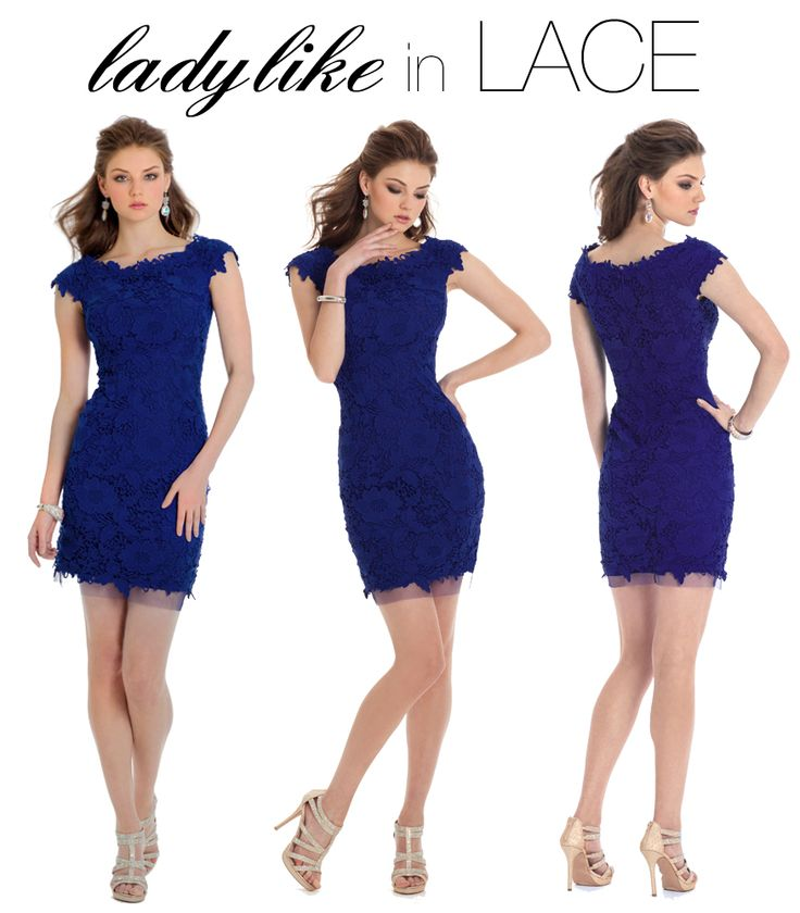 Camille La Vie blue homecoming short lace dress