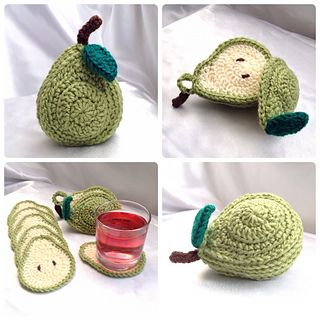 This is a crochet pattern to create 6 pear shaped coasters and a cute pear shaped holder to neatly store them in. This pattern is written using US terms and includes a chart to convert into UK terms. I have included photographs to help with instructions in the pattern, if you would like a printer friendly version of this pattern, please contact me.
