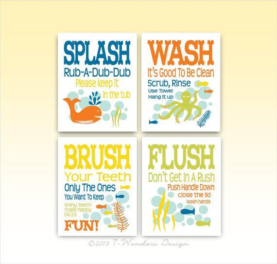 Childrens Kids Bathroom Art Prints Set of 4- 5 by 7 WondersDesign