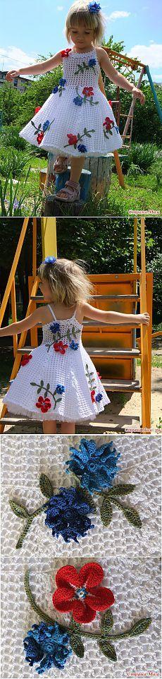 vestido blanco elegante para las niñas (gancho).