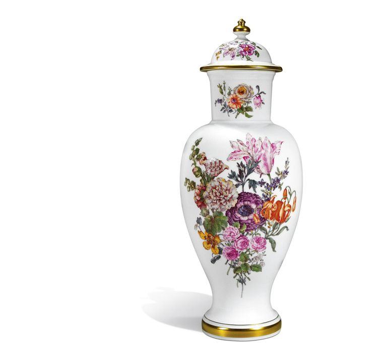 Vase with lid Flower and Fruit Painting