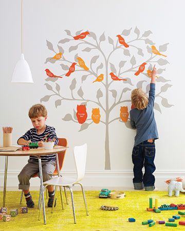 Birds of a Feather Family Tree: A colorful tree mural is a