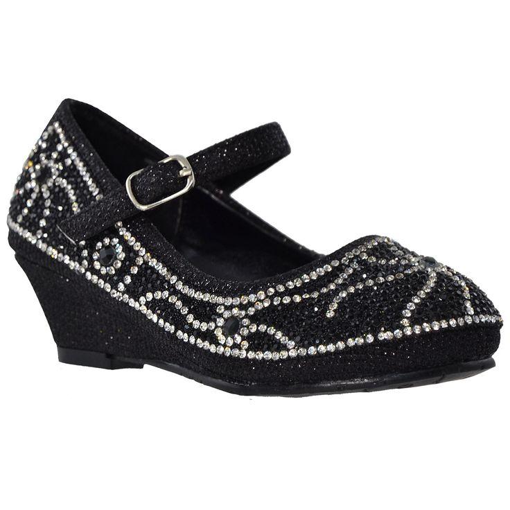 Kids Dress Shoes Ankle Strap Glitter Rhinestone Crystal Wedge Pumps Black