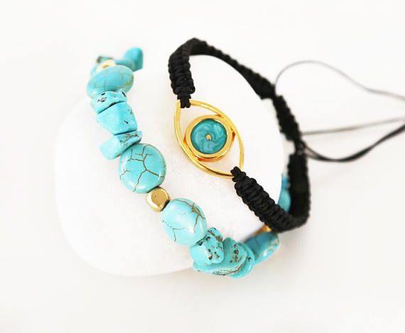 greek jewelry turquoise gemstone bracelet evil eye jewelry