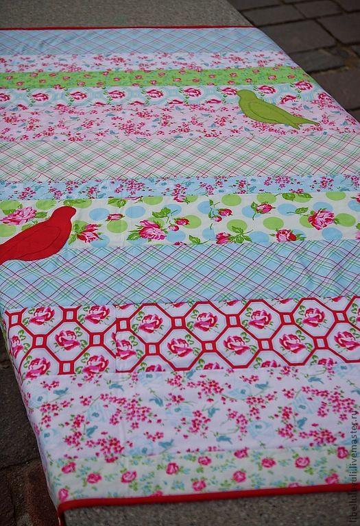 """Купить Одеяло """"Райские птички"""" - одеяло, пэчворк, одеяло пэчворк, одеяло детское, одеяло для новорожденного"""