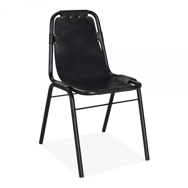 Heyl Interiors offer the Industrial Black Leather Dining Chair as part of their range. Shop online with Heyl Interiors today! We offer UK wide delivery.