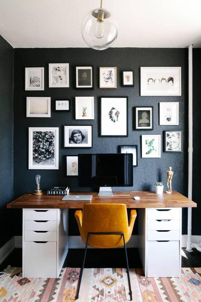 Me Gusta El Color De La Madera En Combinacion Con El Color Oscuro De La Pared Y La Simpleza De Los Cuadr Home Office Decor Small Space Design Home Office Space
