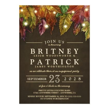 #engagement #party #invitations - #Rustic Fall Leaves Engagement Party Invitations