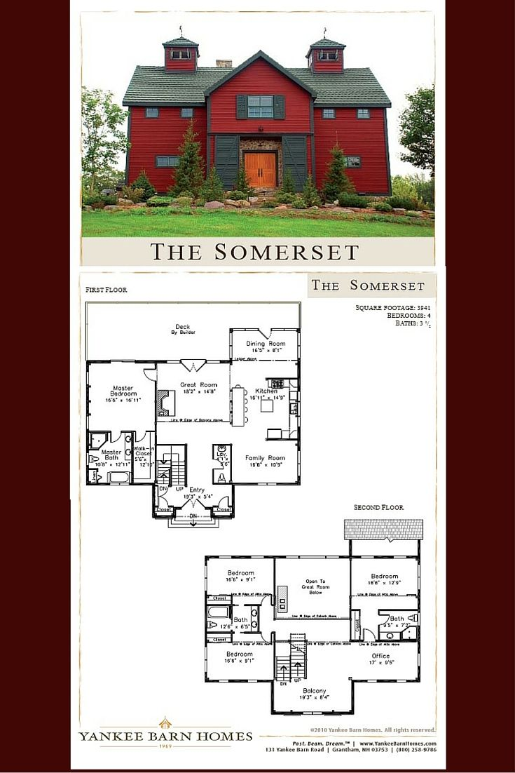 This barn home design plan features 3,941 square feet of post and beam living space, 4 bedrooms and 3.5 baths - Visit www.YankeeBarnHomes.com to see more on this home. #barnhomeplans