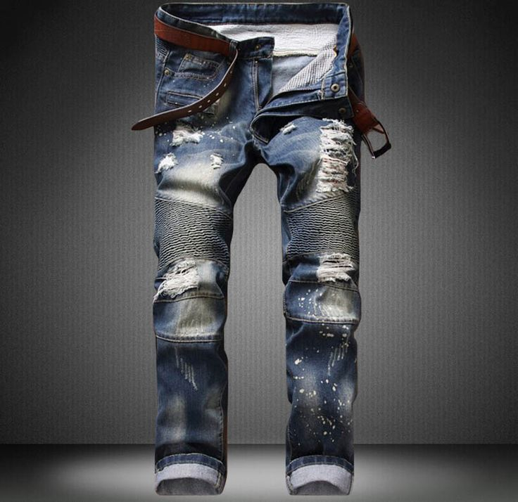 >> Click to Buy << NEW Blue Men Jeans High Quality Classic Skinny Biker Motorcycle Jeans Zipped Ripped Denim Slim Fit Hip Hop  hip hop Jeans #Affiliate