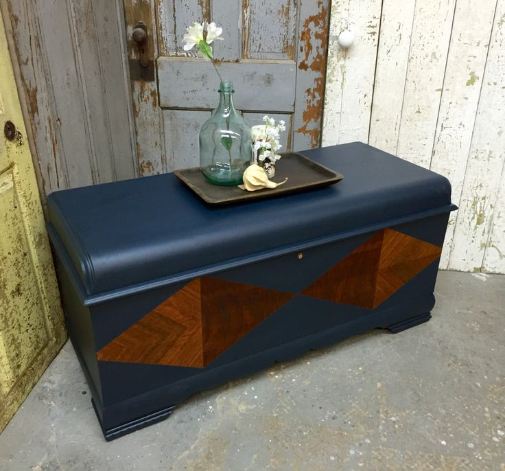 Lane Hope Chest, Art Deco Waterfall, Large Storage Trunk, Wooden Chest by VintageHipDecor on Etsy